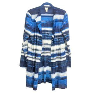 Chicos Collection Blue Pleated Duster Size 3